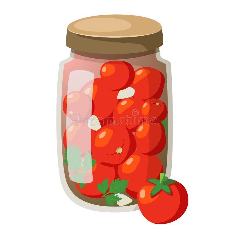 Icon cartoon marinated tomatoes in bottle vector illustration