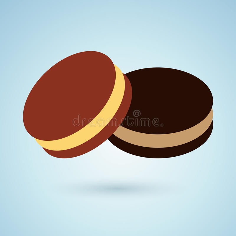 Icon of chocolate cookies with cream filling stock illustration