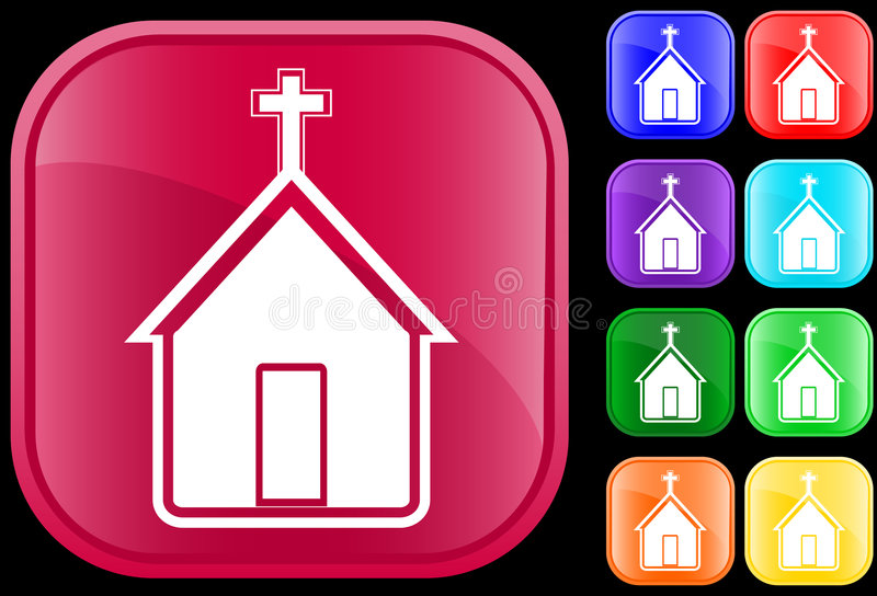 Icon of church. On shiny square buttons