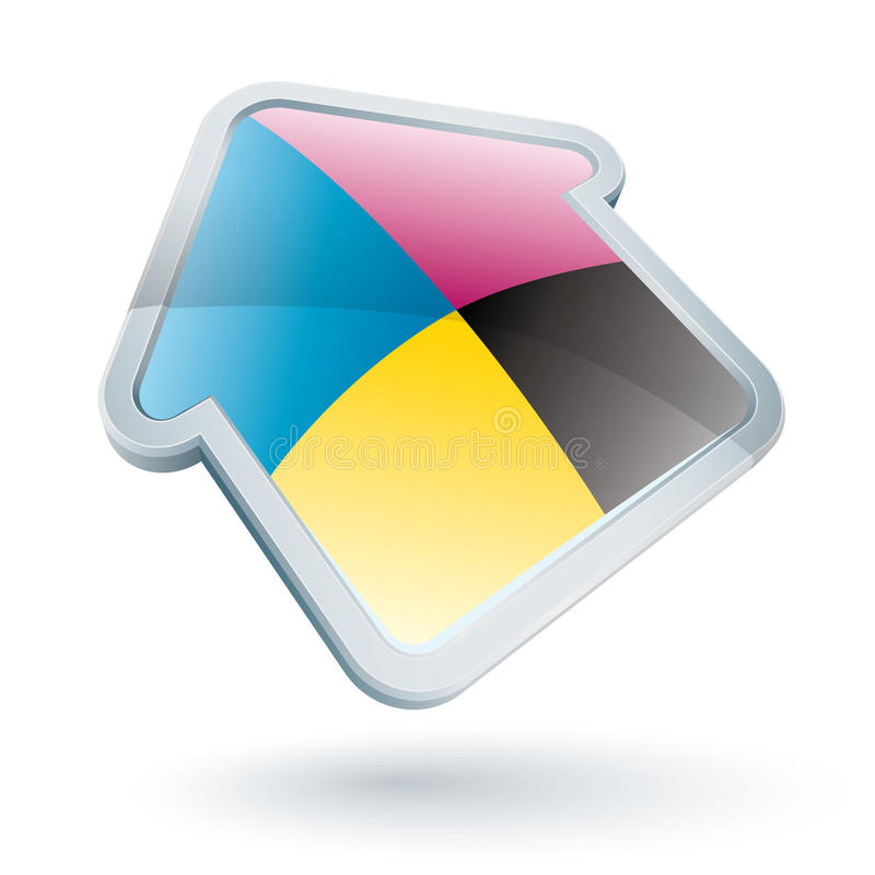 Icon of a cmyk house stock images
