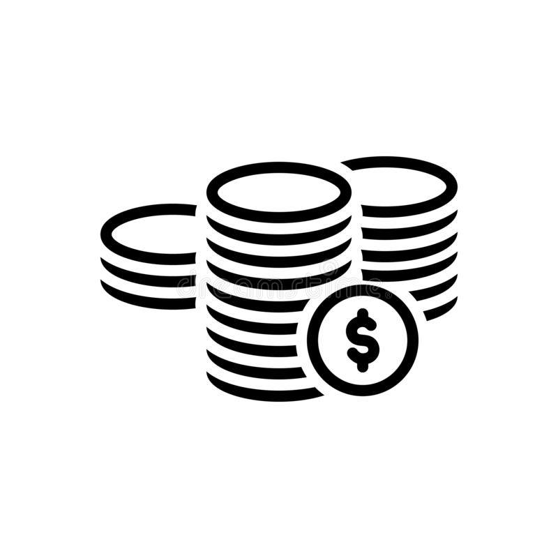 Black line icon for Coins, dollar and legal royalty free illustration