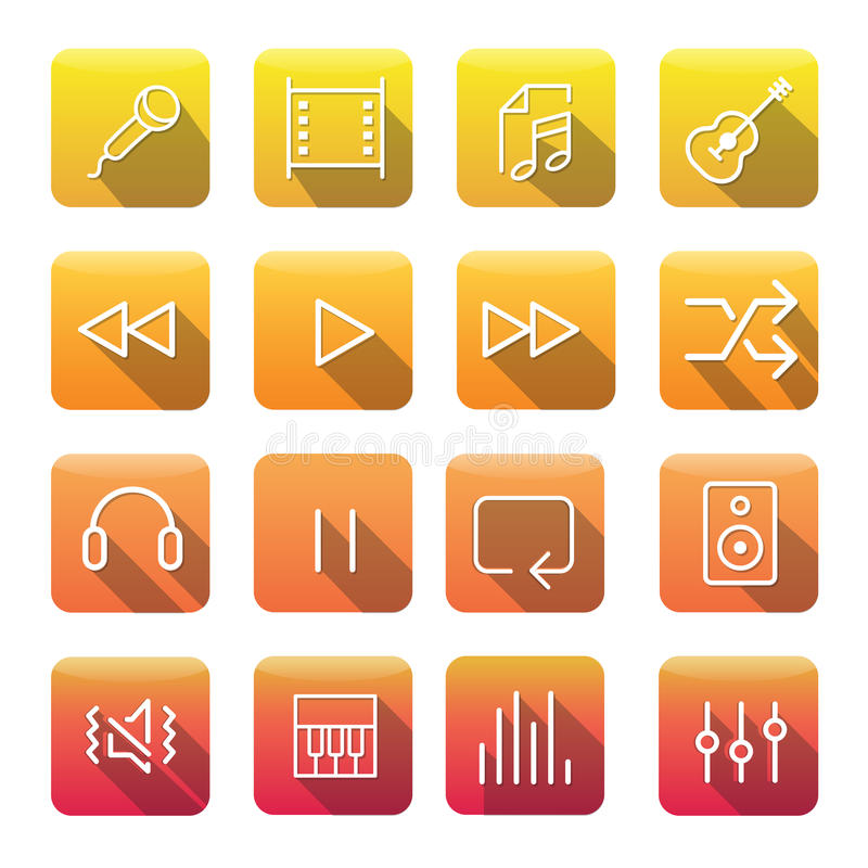 Icon Collection Vector Music Media Concept. Icon Collection Vector Music Media royalty free illustration