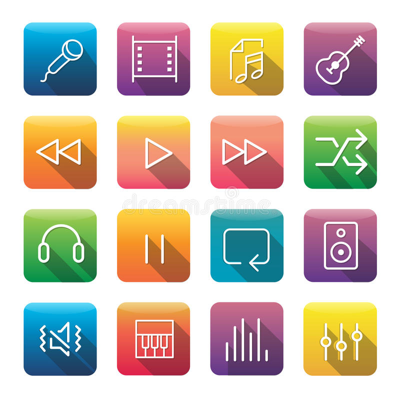 Icon Collection Vector Music Media Concept. Icon Collection Vector Music Media vector illustration