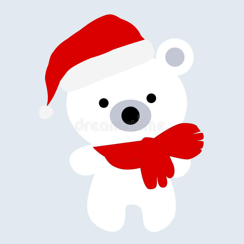 Icon color baby Christmas cute little white polar bear on a blue. Background. Baby vector illustration. Baby shower royalty free illustration