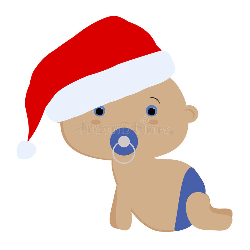 Icon color cute baby boy crawling in a Santa hat vector illustration