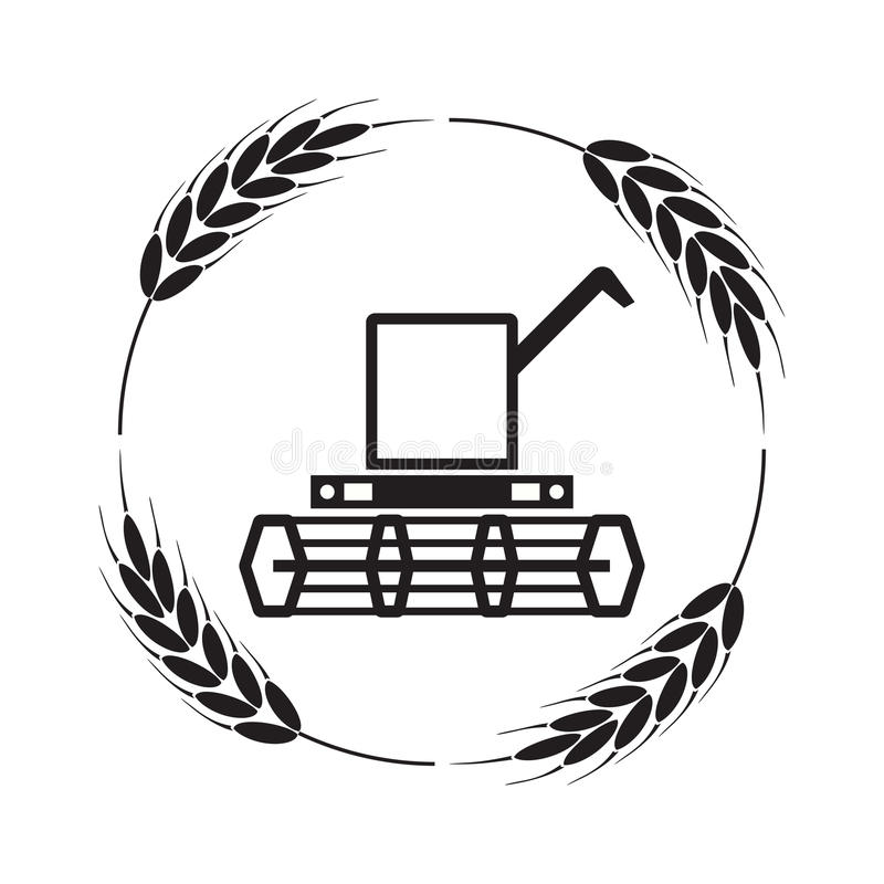 Icon of combine harvester and wheat ears, vector. Icon of combine harvester and wheat ears, black and white agricultural background, machinery farm harvest royalty free illustration