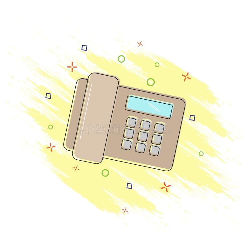 Icon of a comic-book-style telephone. Splash effect, flat design. Phone, comic book style icon with splash effect, flat design vector illustration