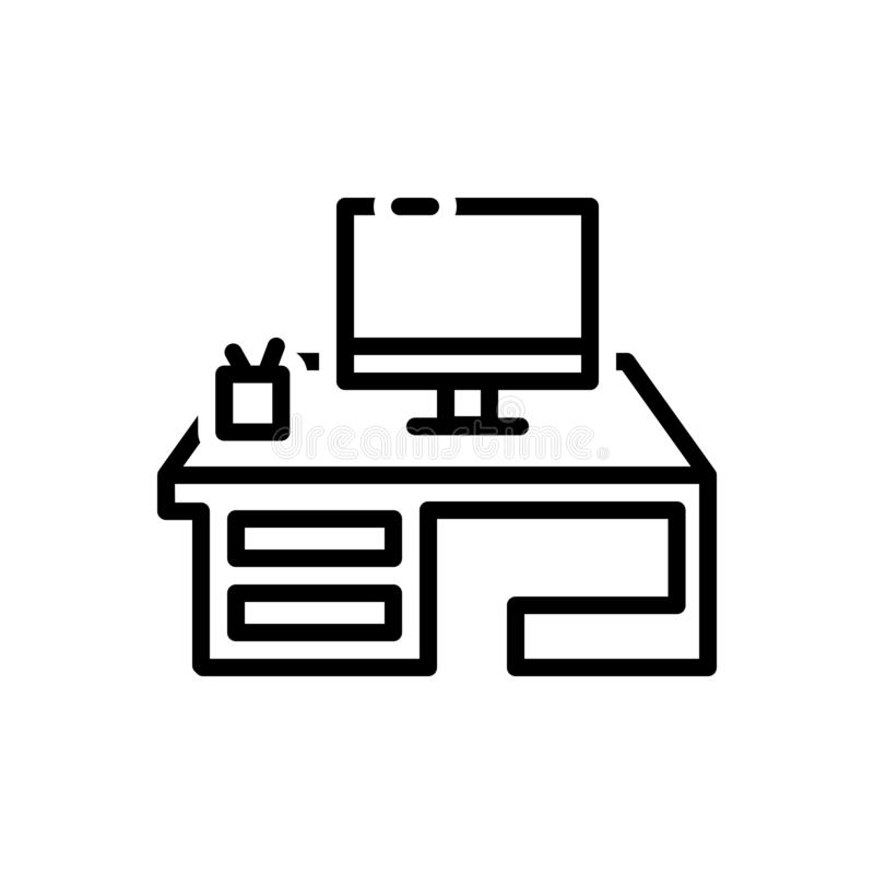 Black line icon for Computer, desk and work royalty free illustration