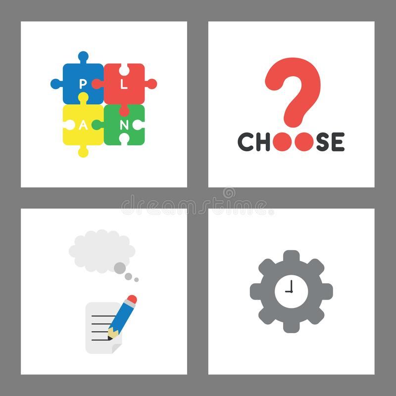 Icon concept set. Connected plan puzzle pieces, choose word with question mark, pencil writing on paper with thought bubble and stock illustration