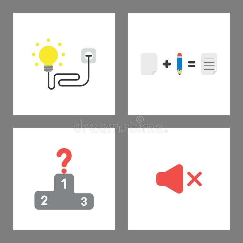 Icon concept set. Light bulb plugged into outlet, paper and pencil, qustion mark at first place of winners podium, sound off stock illustration