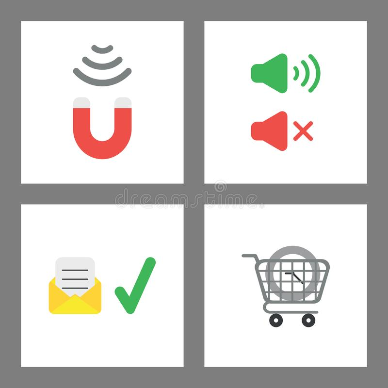 Icon concept set. Magnet attracting, sound on and off, envelope with written paper and check mark, clock inside shopping cart vector illustration