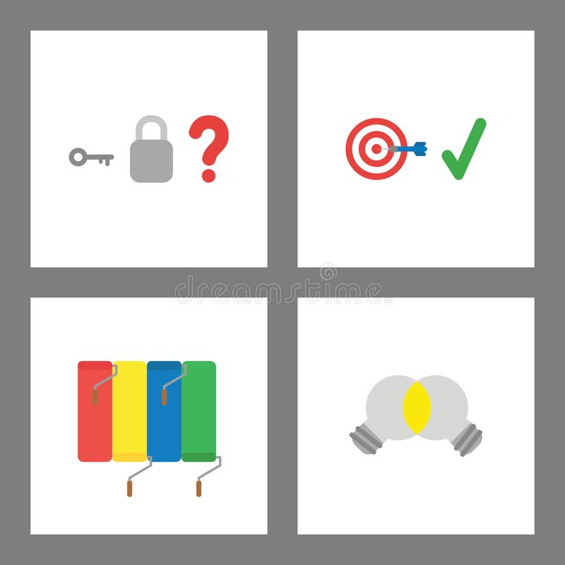 Icon concept set. Padlock without keyhole, bulls eye target success, painting wall, light bulb unite ideas. Vector icon concept set. Padlock without keyhole royalty free illustration