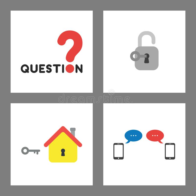 Icon concept set. Question word and mark, key unlock padlock, house with keyhole and key, smartphones and speech bubbles stock illustration