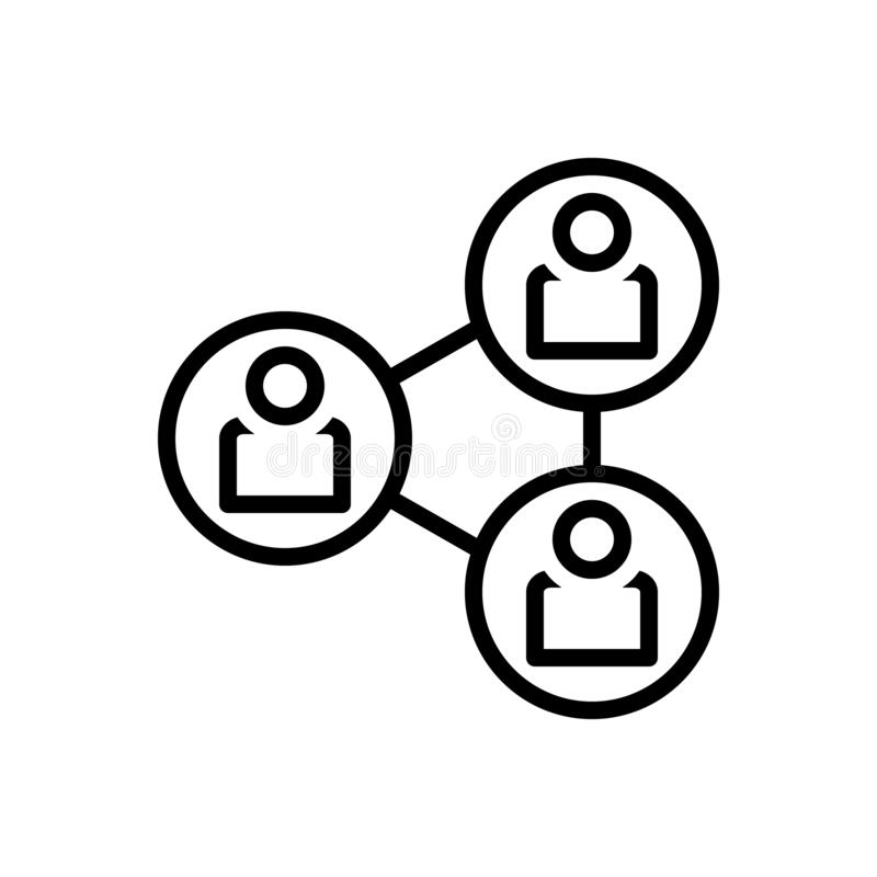 Black line icon for Connection, association and bond. Black line icon for Connection, network, interaction, hyperlink, organization,  association and bond stock illustration