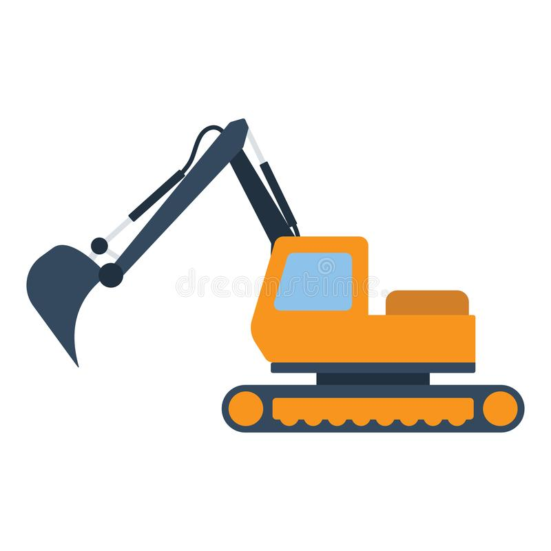 Icon of construction excavator. Flat color design. Vector illustration vector illustration