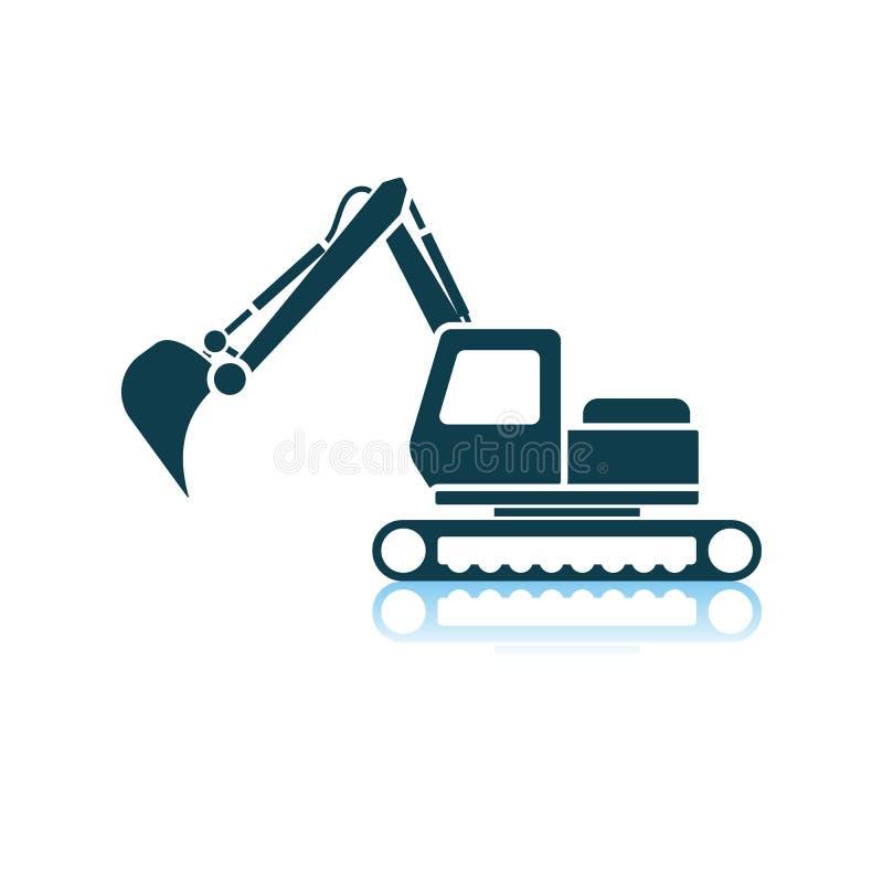 Icon Of Construction Excavator. Shadow Reflection Design. Vector Illustration royalty free illustration