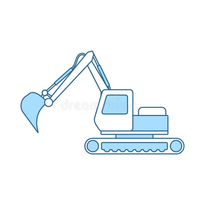 Icon Of Construction Excavator. Thin Line With Blue Fill Design. Vector Illustration stock illustration