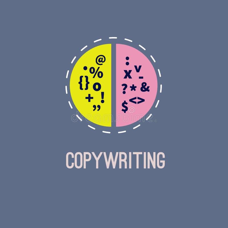 Icon of copywriting. Vector logo. Character brainstorming vector illustration