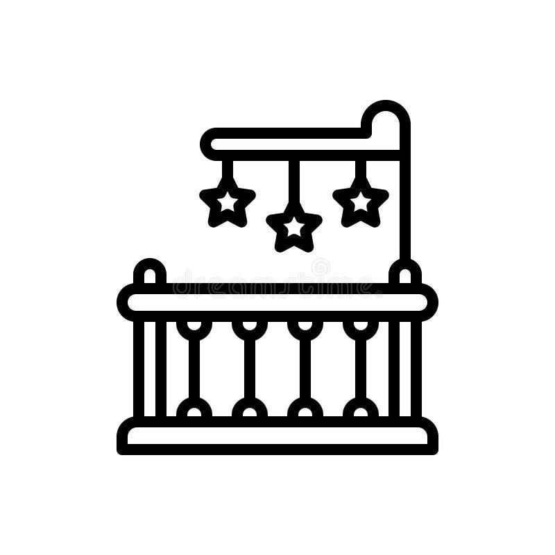 Black line icon for Crib, bed and toddler. Black line icon for crib, newborn, playpen, interior, bed and toddler vector illustration