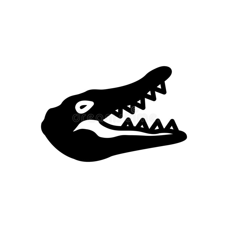 Black solid icon for Crocodile, alligator and animal. Black solid icon for Crocodile, reptile, cocodrilo, logo,  alligator and animal vector illustration
