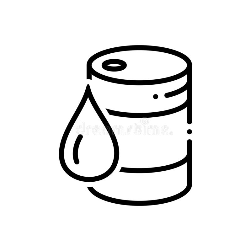 Black line icon for Crude, drum, drop and oil. Black line icon for crude, fuel, drum, container, chemical, miscellaneous, drop and oil stock illustration
