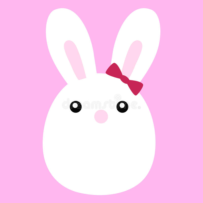 Icon Cute Bunny Bride With A Bow Stock Vector  Illustration Of