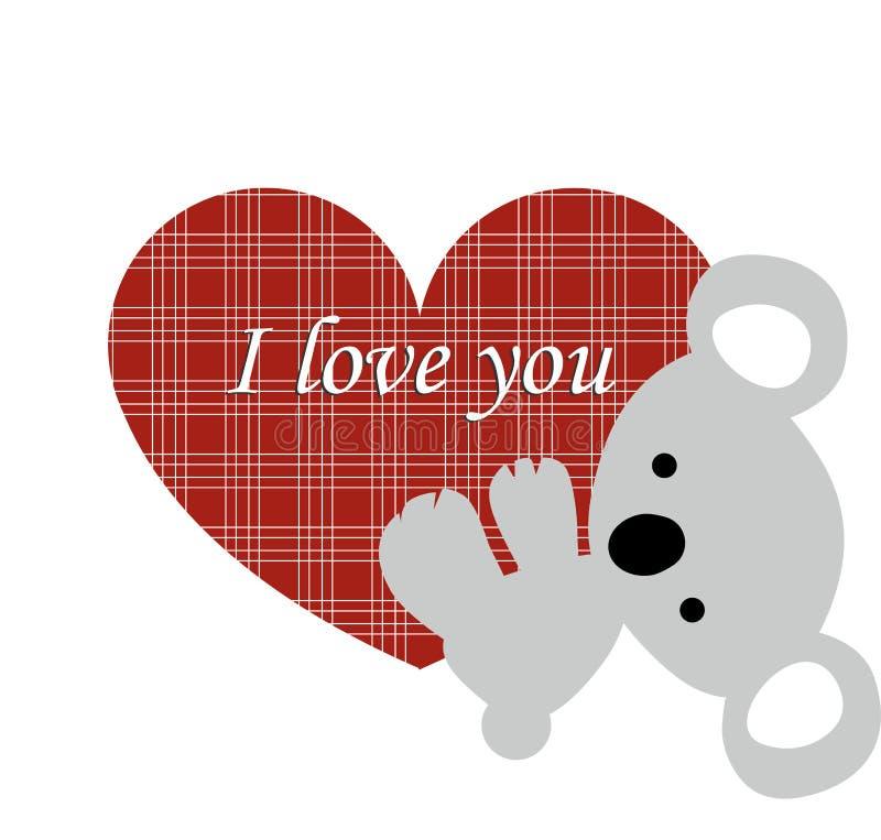 icon cute koala bear holds onto a red heart frame on a
