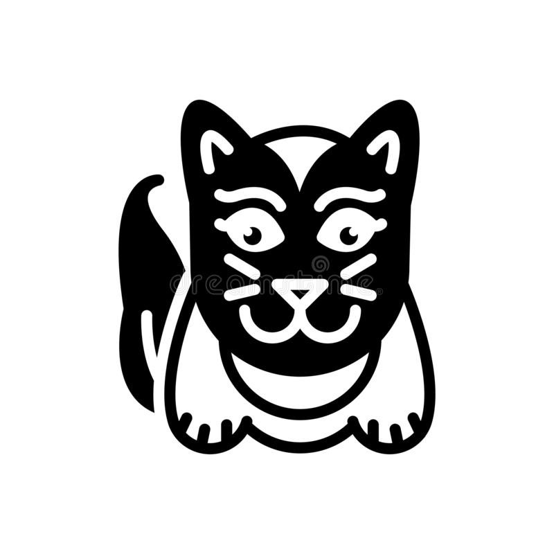 Black solid icon for Cute, lovable and sweet. Black solid icon for Cute, charming, likeable, cat, logo,  lovable and sweet royalty free illustration