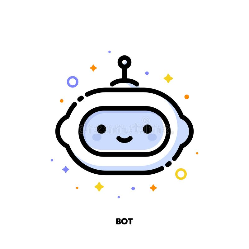 Icon of cute robot which symbolizes artificial intelligence or virtual assistant for SEO concept. Flat filled outline style stock illustration