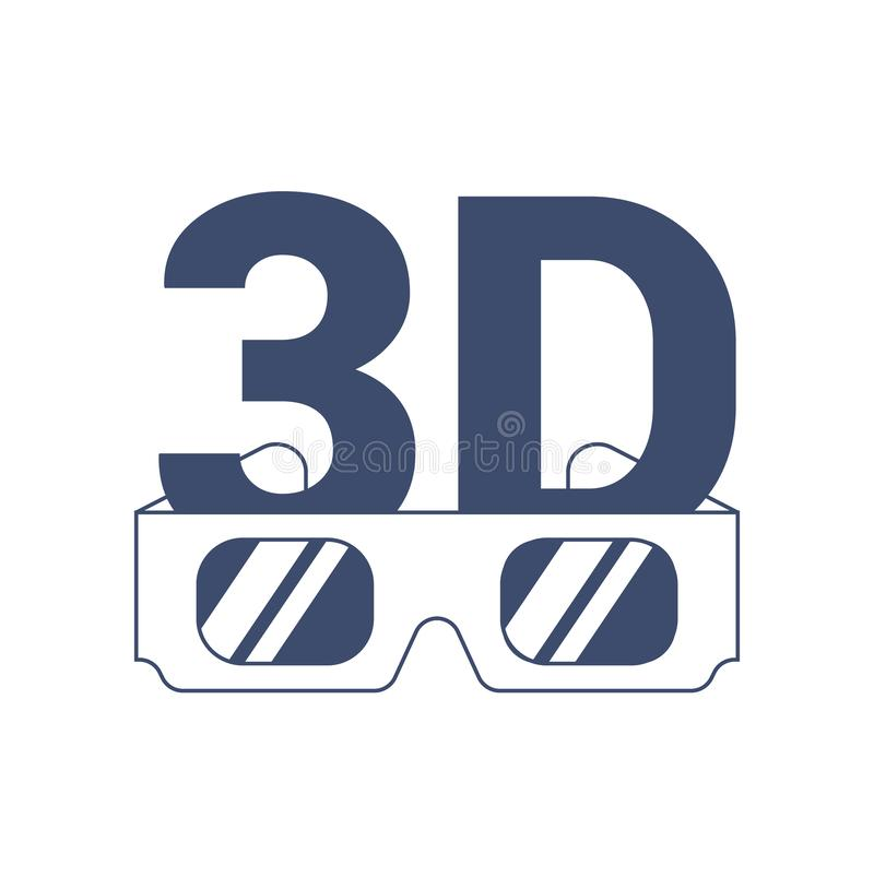 Icon 3D and glasses on a white background royalty free illustration
