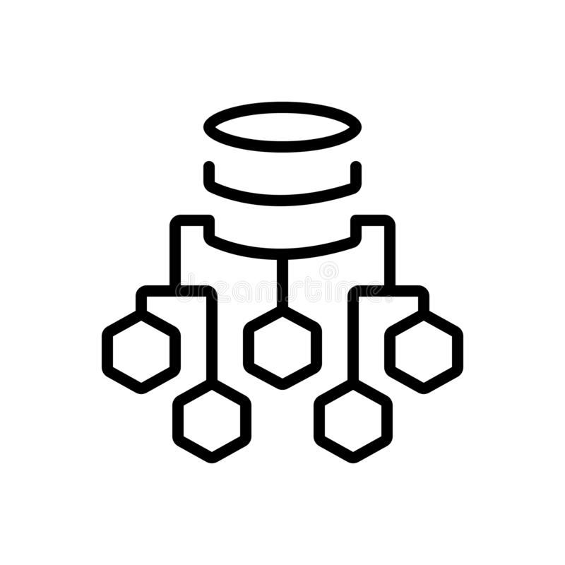 Black line icon for Data Flow Chart, process and server stock illustration