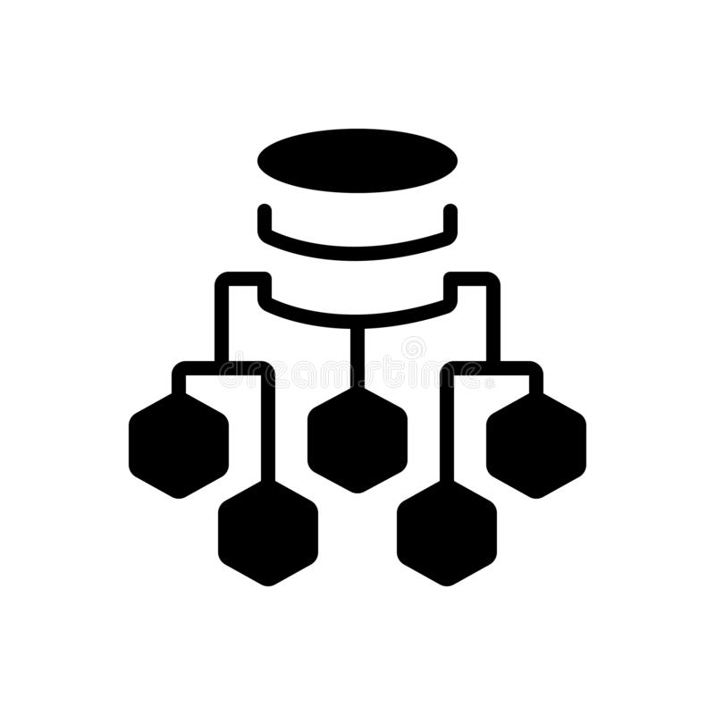 Black solid icon for Data Flow Chart, process and connection. Black solid icon for Data Flow Chart, server, diagram, flowchart,  process and connection royalty free illustration