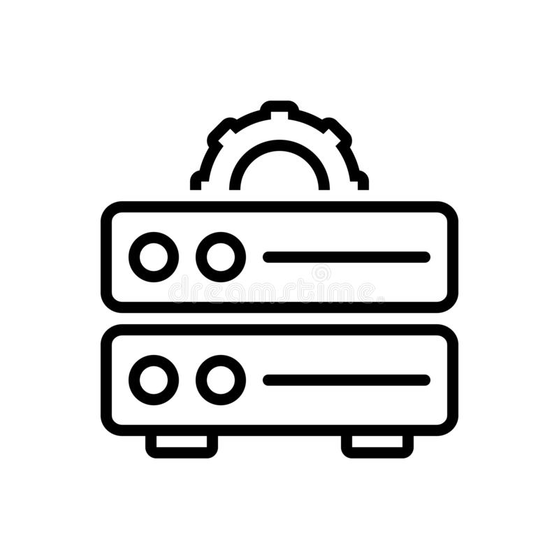 Black line icon for Data Management, storage and file royalty free illustration