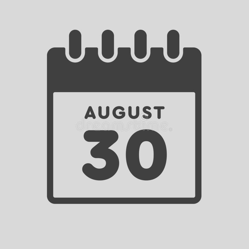 Free Icon Day Date 30 August, Template Calendar Page Royalty Free Stock Image - 217765126