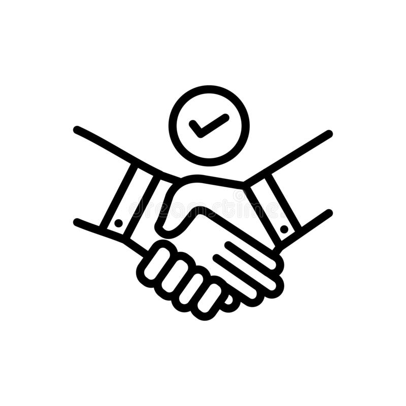 Black line icon for Deal, pledge and promise. Black line icon for Deal, bargain, handshake, cooperation, unity,  pledge and promise royalty free illustration