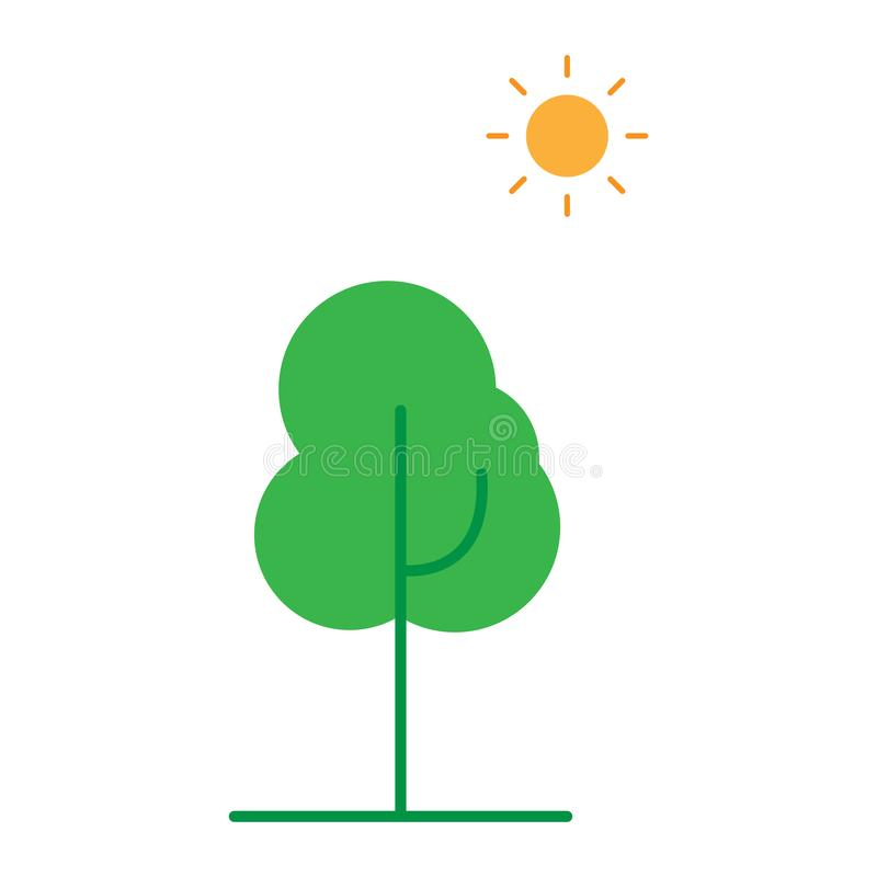 Icon of deciduous tree. Green tree and orange sun. vector illustration