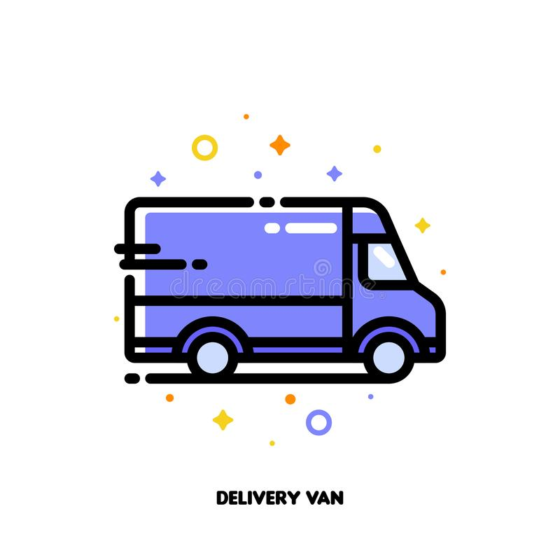 Icon of delivery van which symbolizes local delivery service or fast shipping for shopping and retail concept. Flat filled outline vector illustration