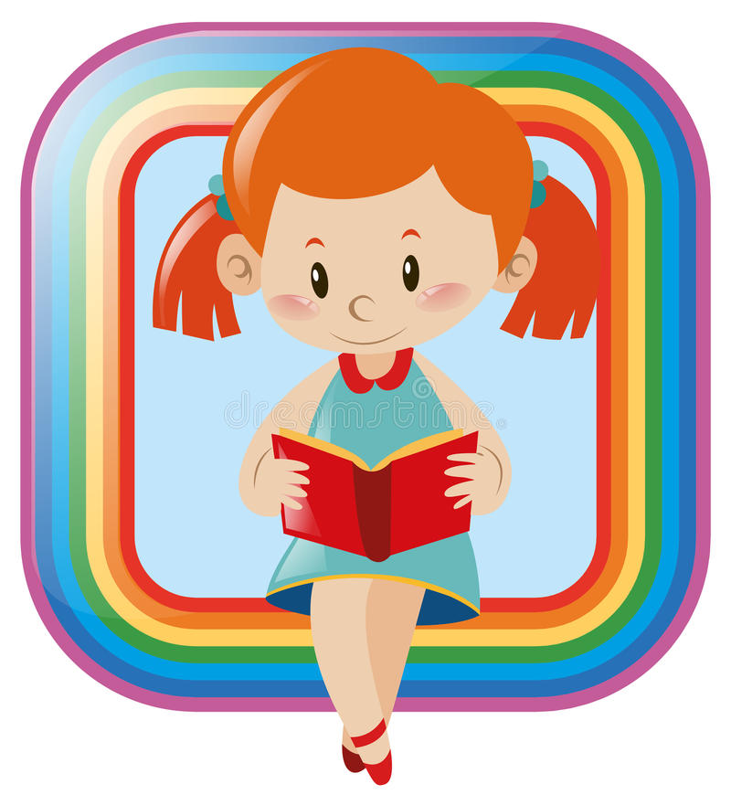 Icon design with girl reading book stock illustration