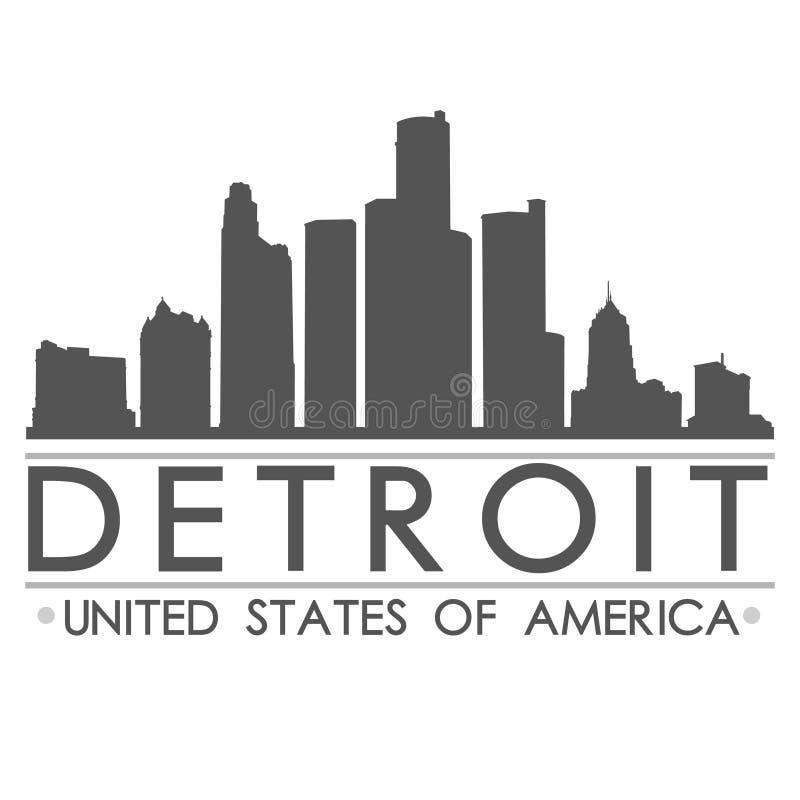 Detroit Skyline Silhouette Design City Vector Art stock illustration