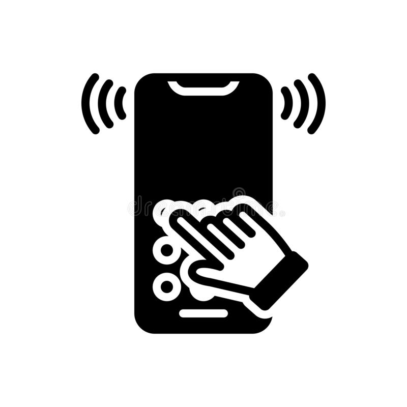 Black solid icon for Dialtone, telecommunication and telephone. Black solid icon for Dialtone, answering, ring, miscellaneous,  telecommunication and telephone royalty free illustration