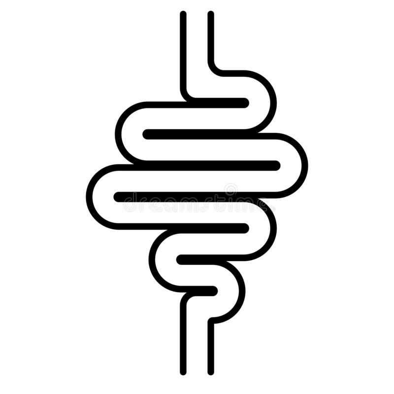 Icon digestive tract, intestines, the vector sign of gastrointestinal health, stomach bowel. Icon digestive tract, the intestines, the vector sign of royalty free illustration