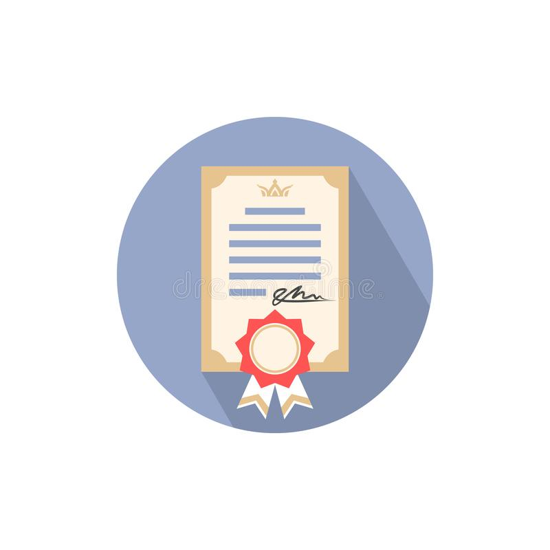 Icon of diploma of education, gift certificate, document with ribbon and signature. Color image in a circle, sign, logo, isolated vector illustration vector illustration