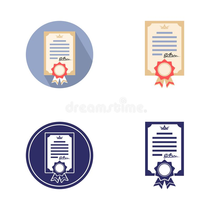 Icon of diploma of education, gift certificate, document with ribbon and signature, monochrome and color. Image in a circle and separately, sign, logo, isolated stock illustration