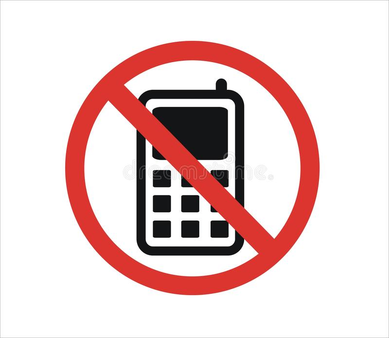 Icon do not call. Picture of the crossed-out phone icon, no calls, no connection stock illustration