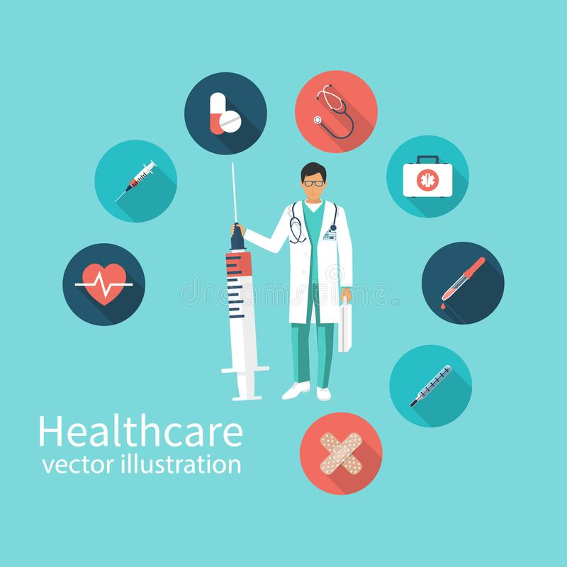 Icon doctor with syringe in hand vector illustration