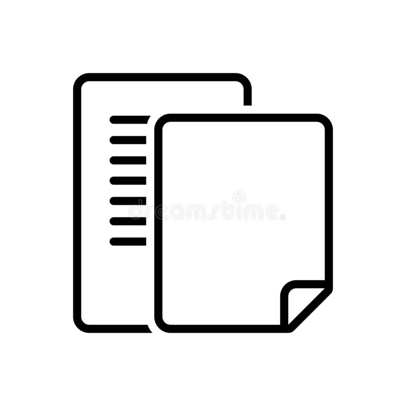 Black line icon for Document, pagenumber and count. Black line icon for Document, number, pagination, scenarios, letter,  pagenumber and count royalty free illustration
