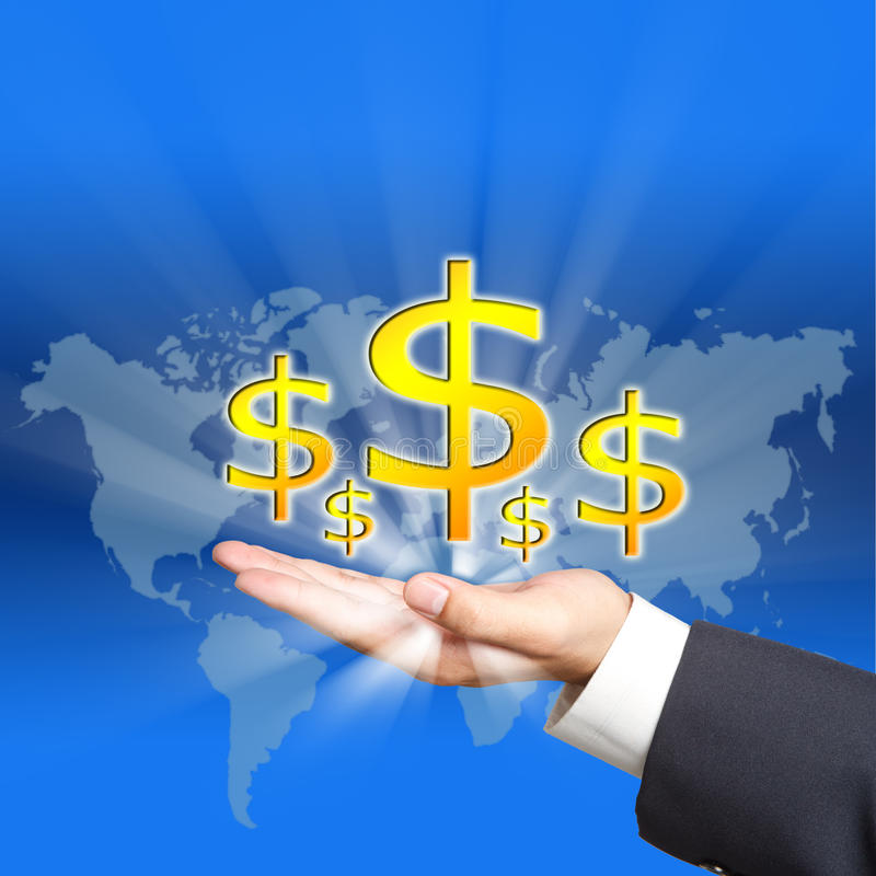 Icon dollar on business hand royalty free stock photography