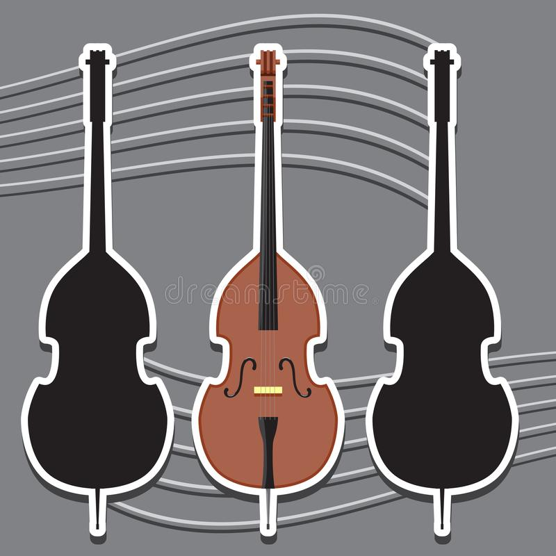 Icon double bass musical instrument string and silhouette, vector image. Eps vector illustration