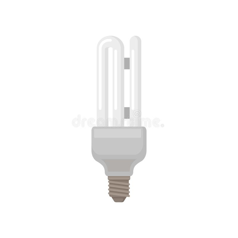 Colorful flat vector icon of double tube fluorescent lamp. Energy-saving light bulb. Element for packaging royalty free illustration