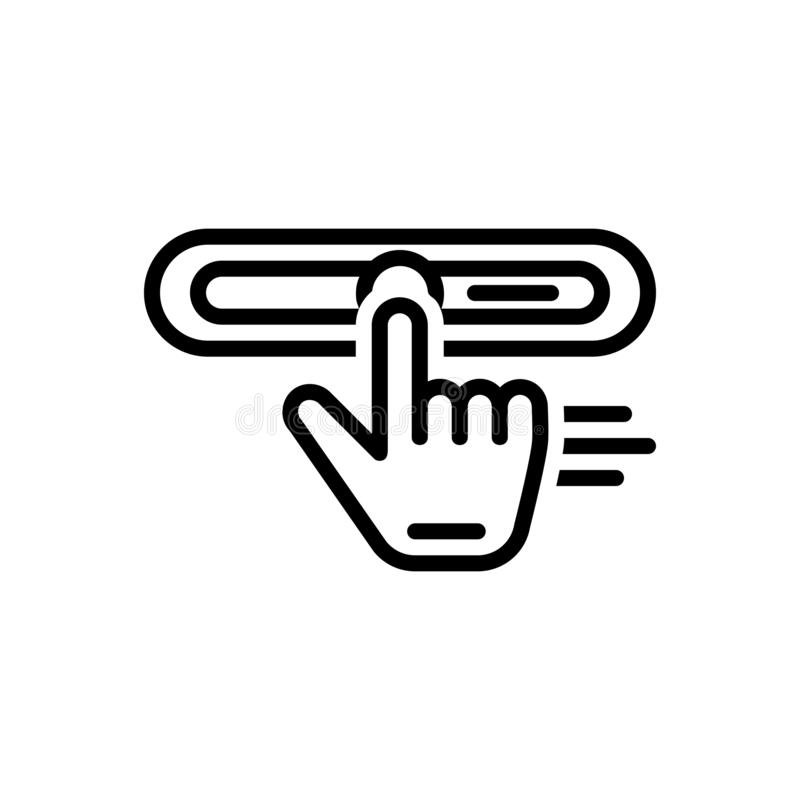 Black line icon for Drag, stretch and strain. Black line icon for drag, exertion, placement, replace, click, user, interface, stretch and strain royalty free illustration
